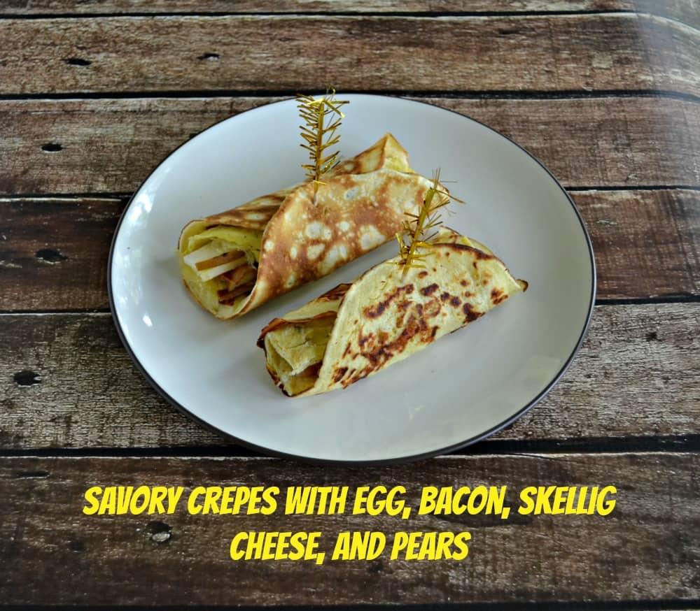 Savory Breakfast Crepes with Egg, Bacon, Skellig, and Pears is a filling and easy to make breakfast