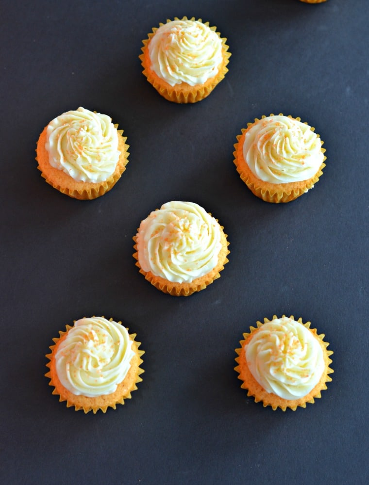 Bright and sunny cupcakes are made with SunnyD!