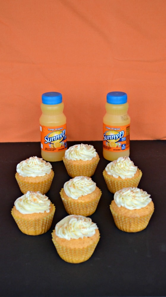 Delicious SunnyD Cupcakes are orange flavored cupcakes topped with vanilla frosting.