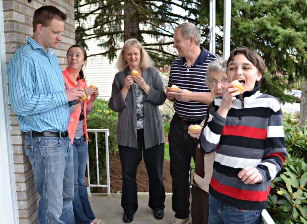 My family enjoying SunnyD Cupcakes out on the porch.