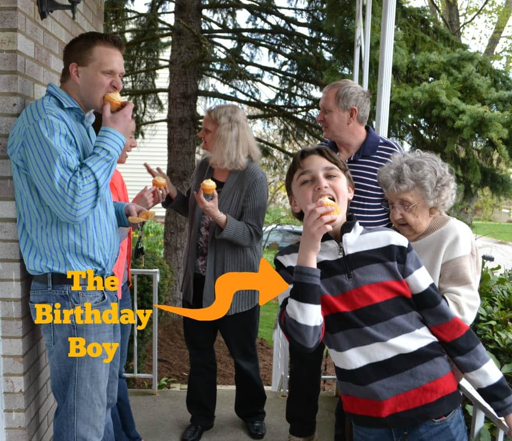 The whole family enjoying SunnyD Cupcakes that taste just like creamsicles!