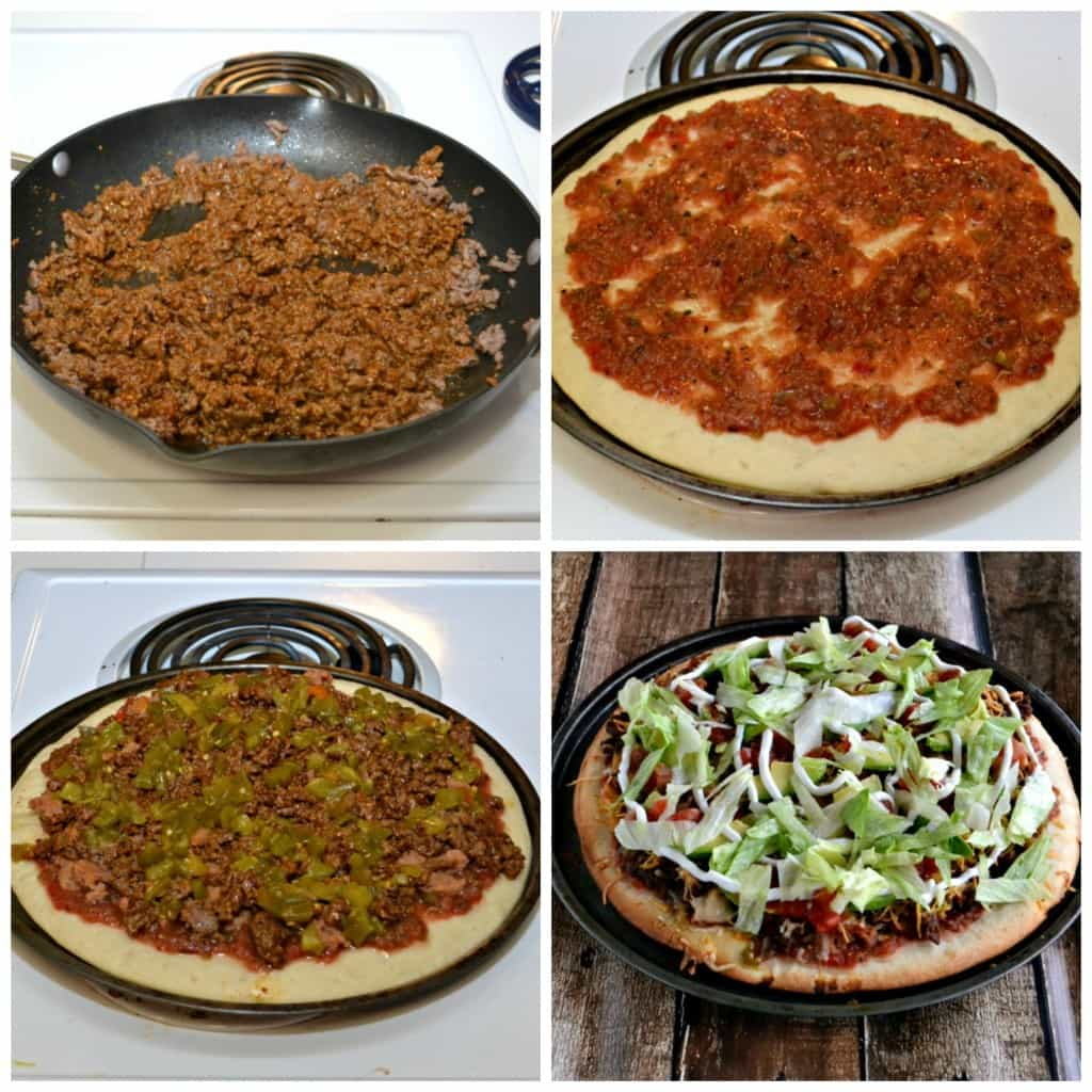 Tasty Taco Pizza is made with seasoned ground beef and all the fixin's you'd find on a taco....but on a pizza shell!