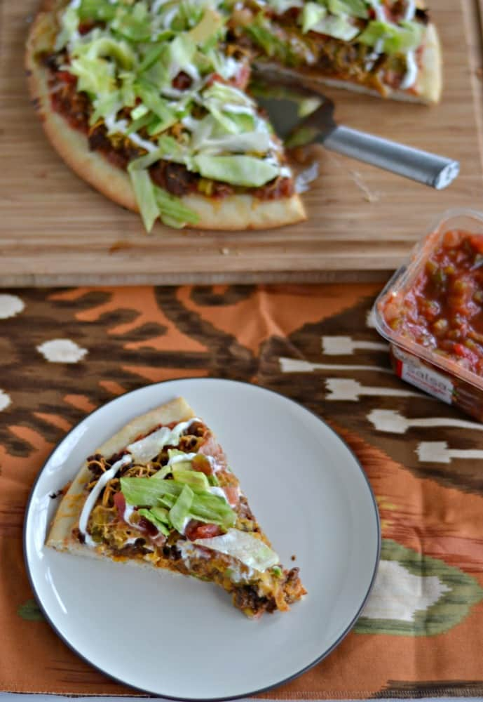 Taco Pizza is a great way to switch up your pizza night with delicious taco toppings!