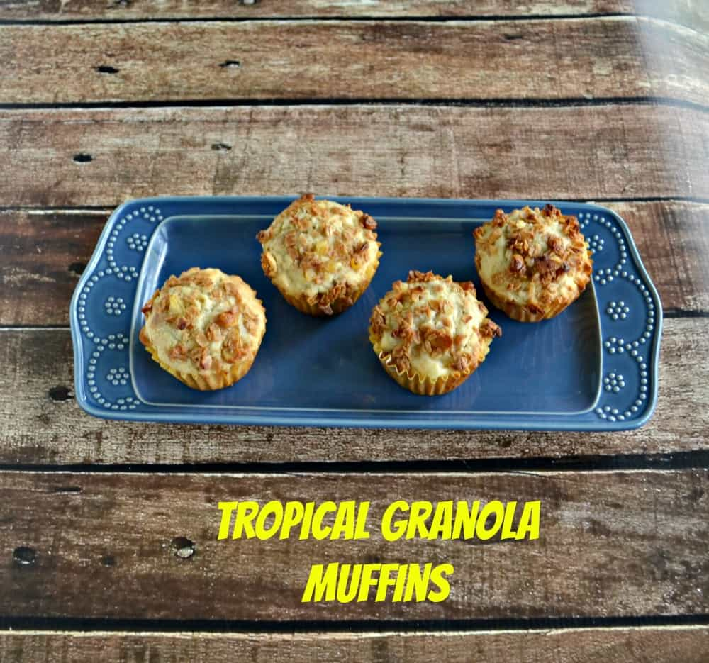 Amazing Tropical Granola Muffins with Pineapple, Coconut, Cashews, Mango, and topped with crunchy granola