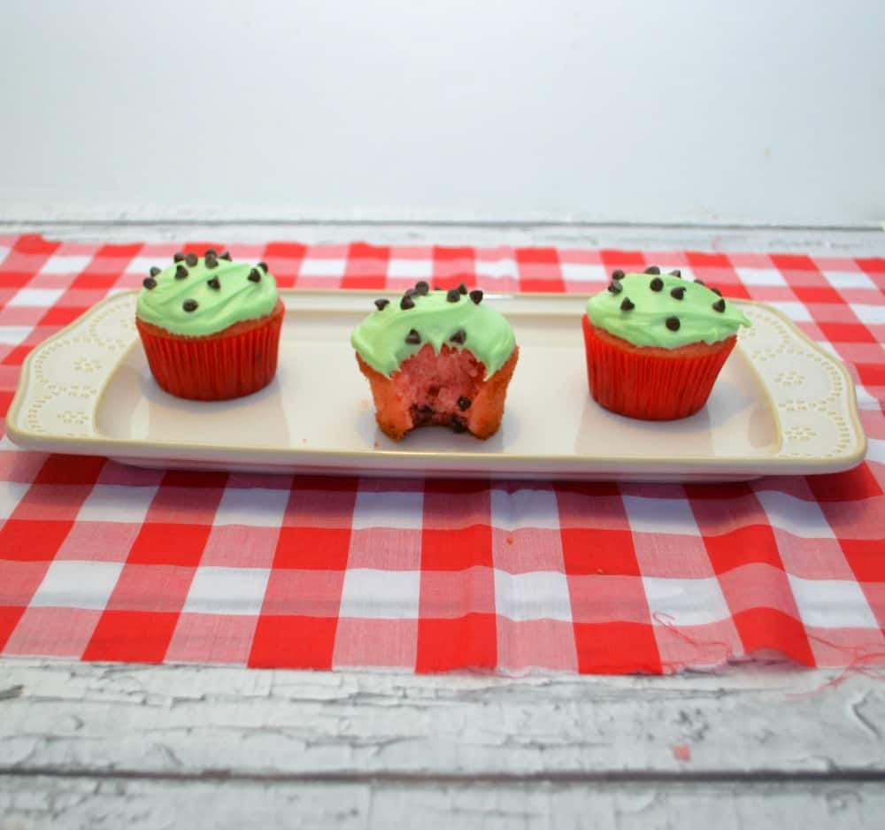 Watermelon cupcakes use a box mix and canned frosting and are so easy to make!