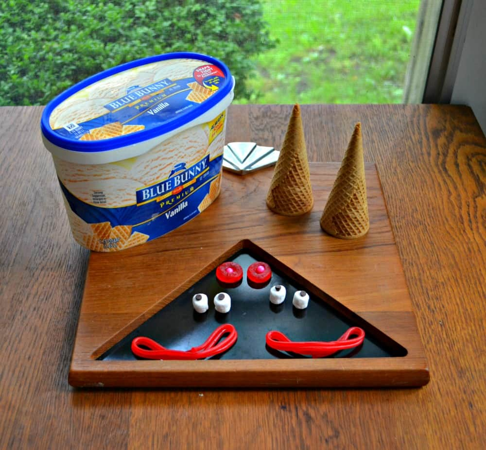 Make a clown sundae for your child using Blue Bunny ice cream and candy!