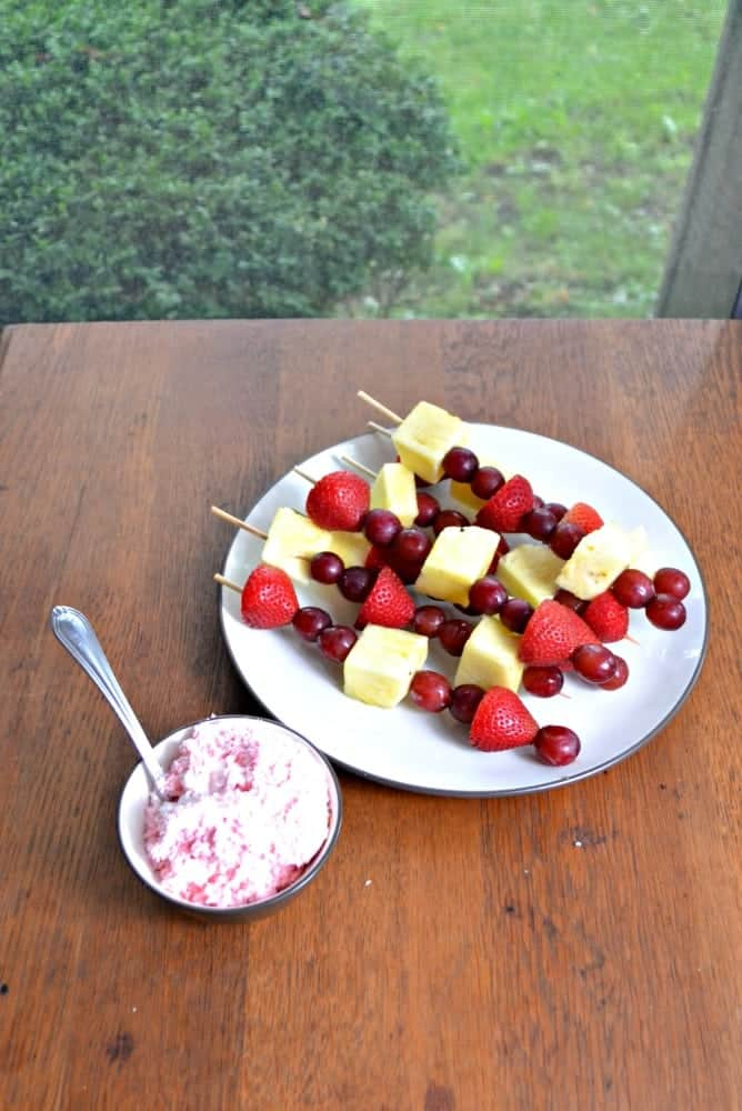 Fruit Kebabs with easy White Chocolate raspberry fruit dip