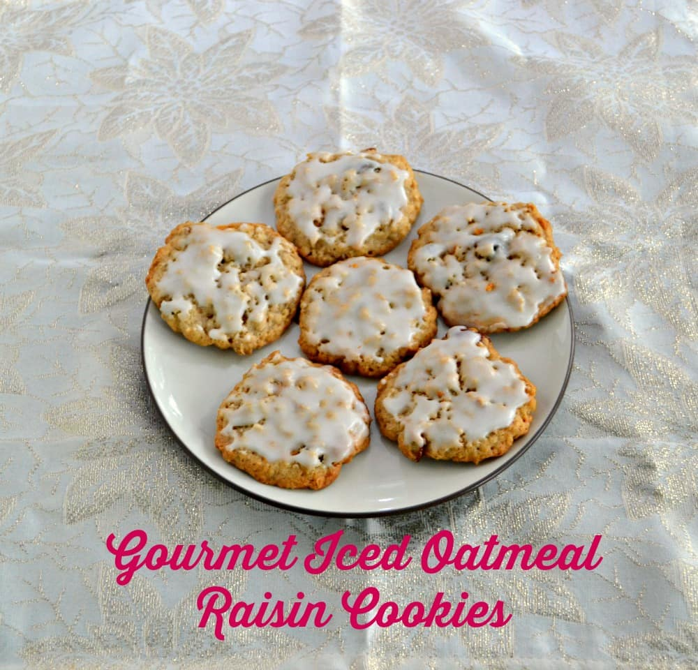 These aren't your grandma's oatmeal cookies.  Gourmet Iced Oatmeal Raisin Cookies have raisins, pecans, and butterscotch chips in them!