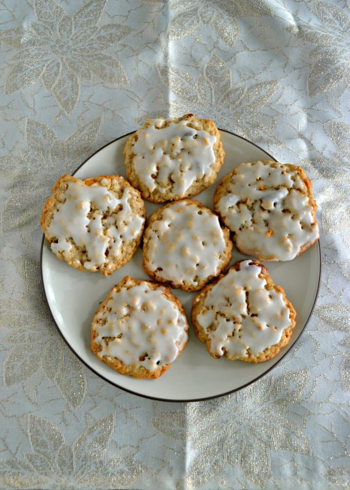 Gourmet Oatmeal Raisin Cookies are iced and have butterscotch chips and pecans!