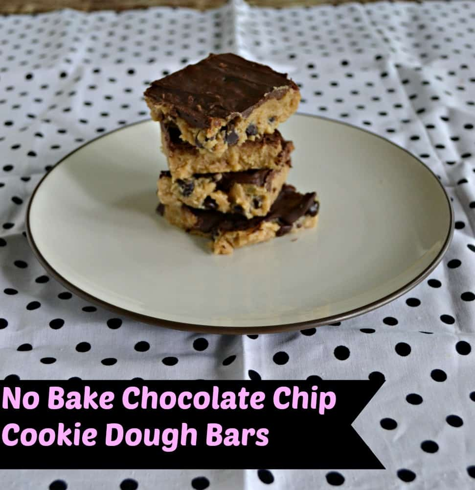 Don't turn on the oven this summer!  Make these no Bake Chocolate Chip Cookie Dough Bars today!