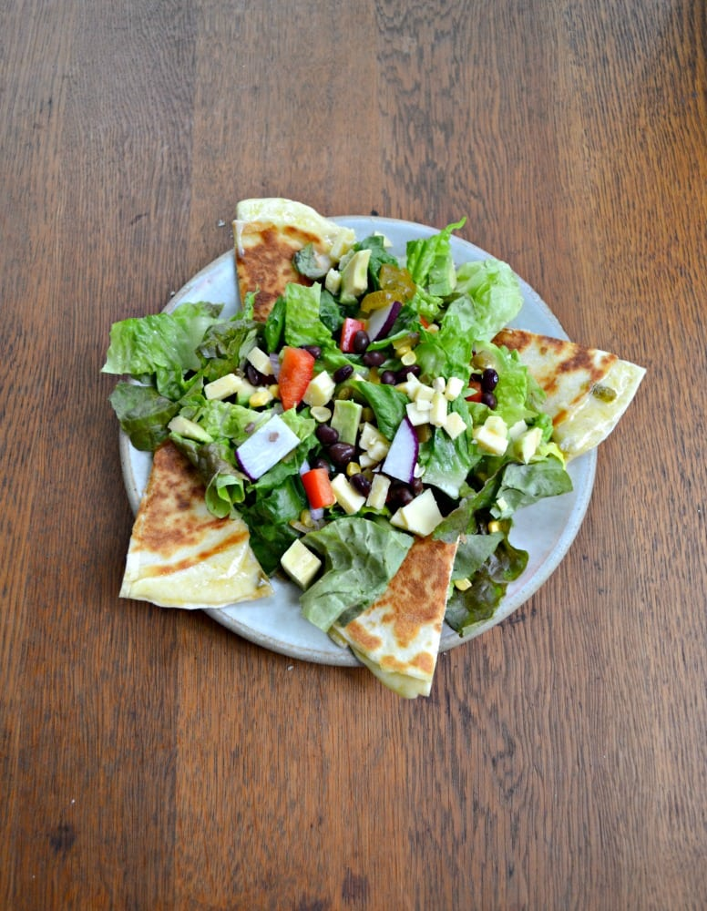Delicious Southwest Chopped Salad with Spicy Quesadillas and Mexi-Ranch Dressing
