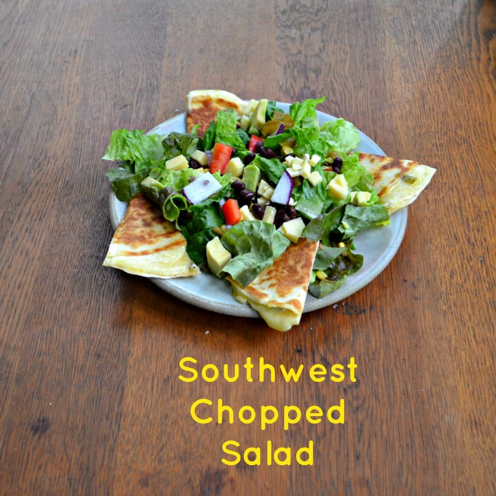 Southwest Chopped Salad Recipe with Jalapeno and Aged Cheddar Quesadillas and Mexi-Ranch Dressing