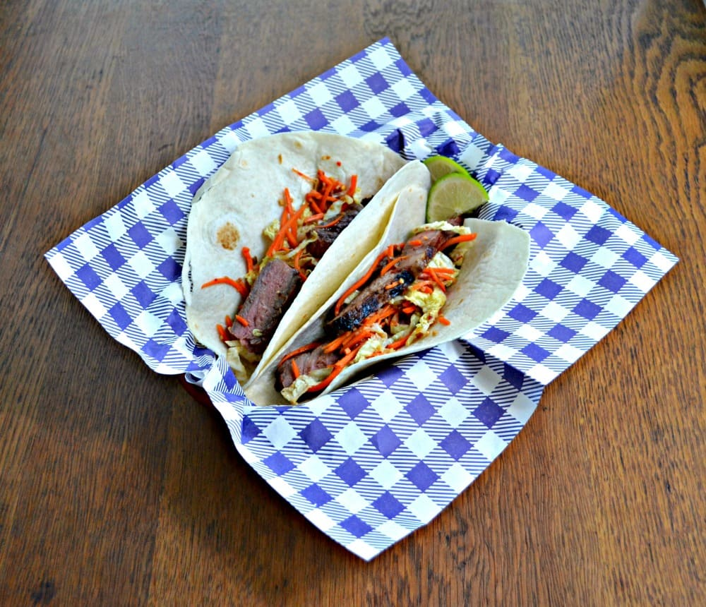 Delicious Grilled Thai Beef Tacos with spicy slaw