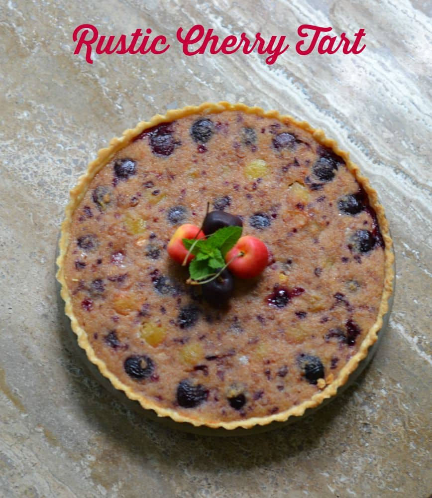 Rustic Cherry Tart with two types of cherries