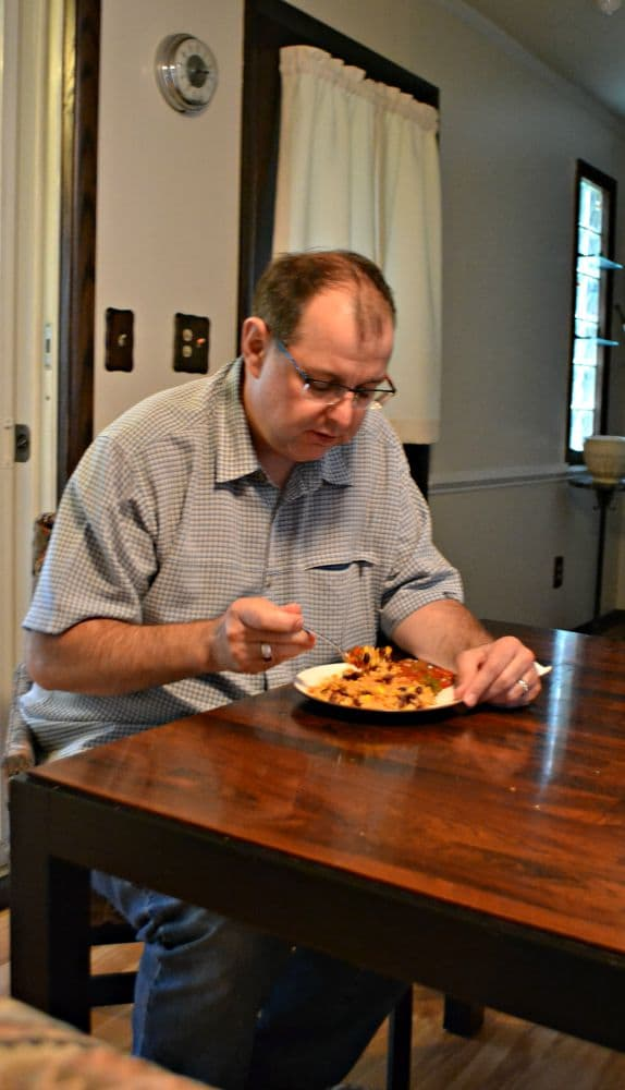 My husband enjoying his STOUFFER's Fit Kitchen Meal for lunch