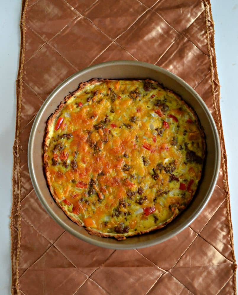 Hash Brown Crusted Breakfast Quiche with eggs, cheese, and sausage