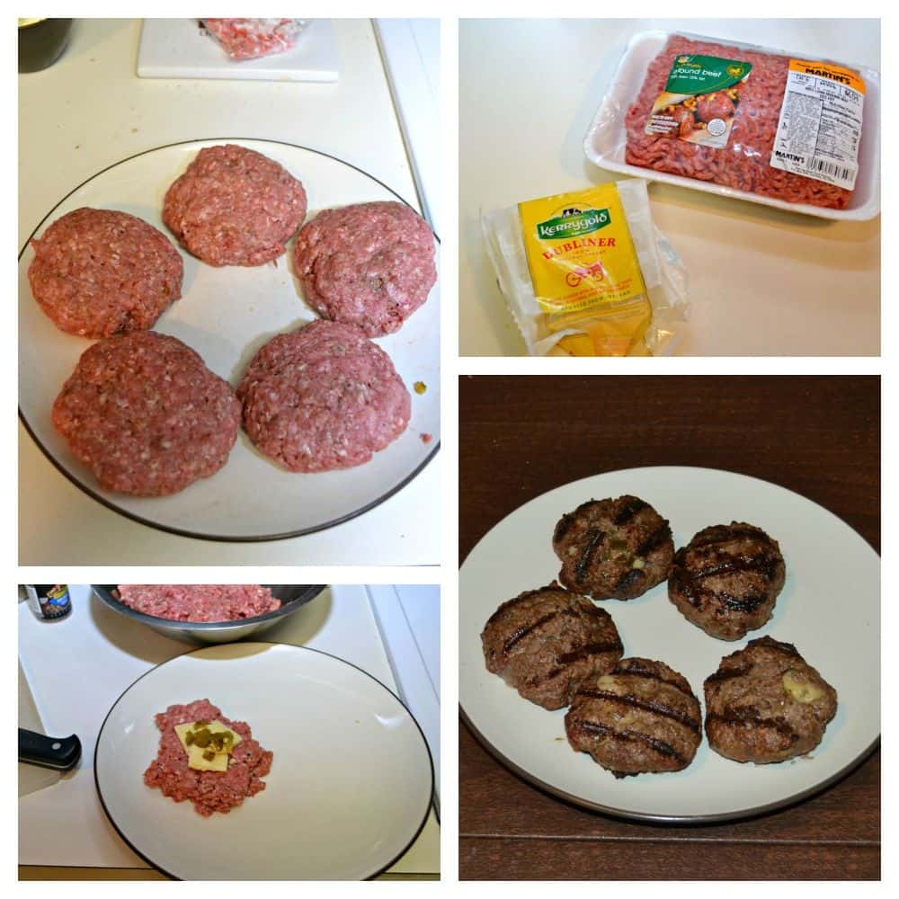 Jalapeno and Dubliner cheese stuffed burgers