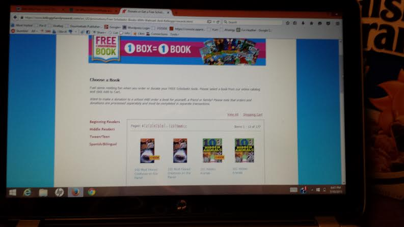 Kellogg's rewards earn you free books to keep or donate