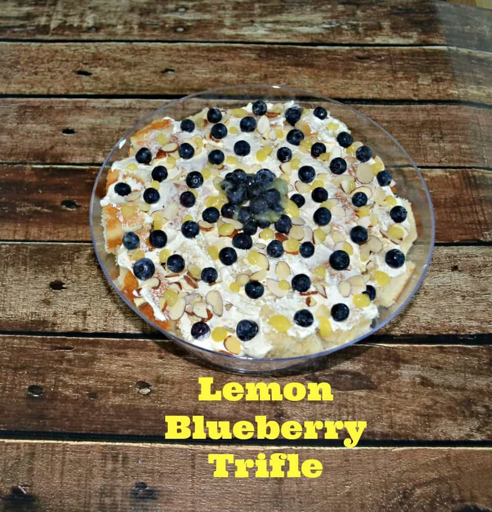 Lemon Bluebery Trifle combines light almond cake, homemade lemon curd, and whipped frosting in one bowl!