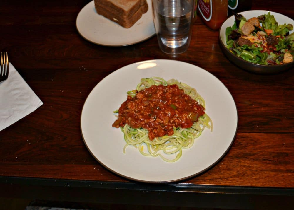 Vegetable Meatsauce on top of zoodles is healthier and tastier!