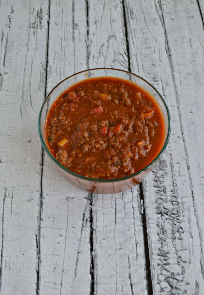 CSA Bolgonese Sauce with tomatoes, peppers, onions, sausage, and ground beef