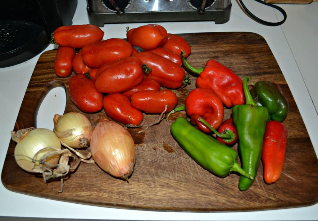 CSA Bolognese Sauce with tomatoes, peppers, and onions