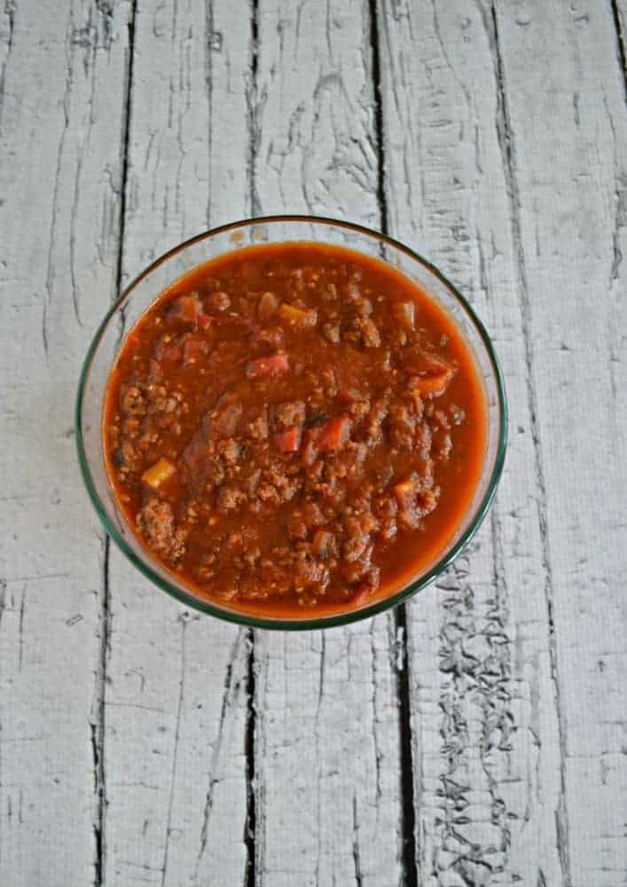 CSA Bolognese is an awesome way to use up vegetables from a CSA share when added to ground beef and chorizo