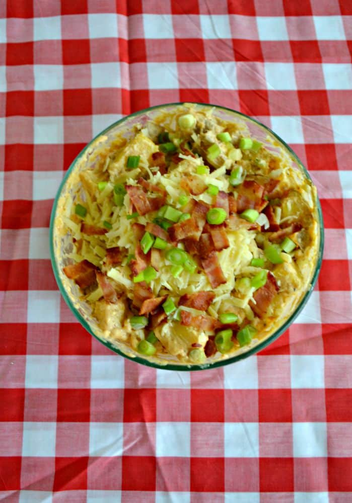 Loaded Barbecue Potato Salad with bacon, green onions, and Kerrygold Dubliner