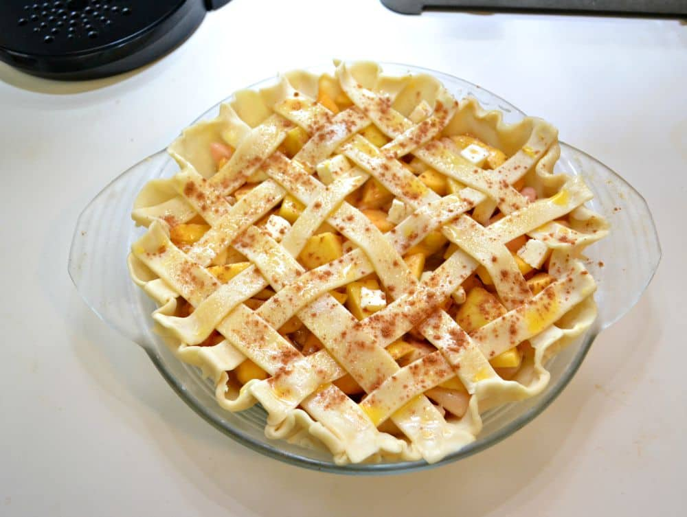 Fresh peach Pie with a lattice pie top