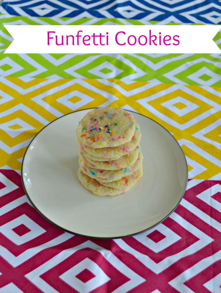 Funfetti Cookies are soft in the middle and studded with colorful sprinkles!