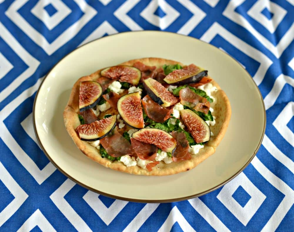 Gourmet Pita Pizzas with fresh figs, spinach, and goat cheese