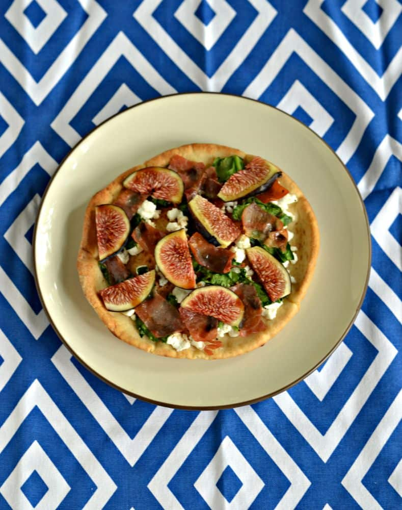 Fig, spinach, and goat cheese pita pizzas using Toufayan pitas!