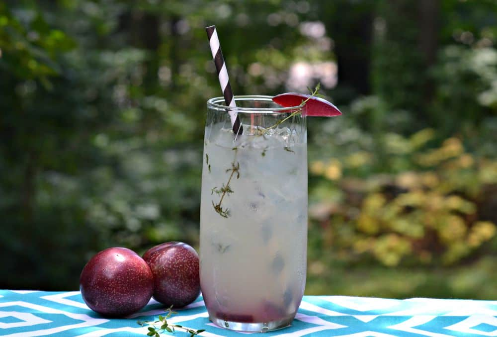 Fresh thyme and juicy plums make for a Plum and Thyme Champagne Cocktails