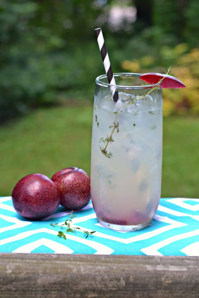 Cool off with a sip of Plum and Thyme Champagne Cocktails