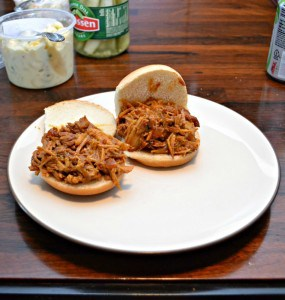 Slow Cooker Pulled Pork with Mustard Barbecue Sauce #SundaySupper