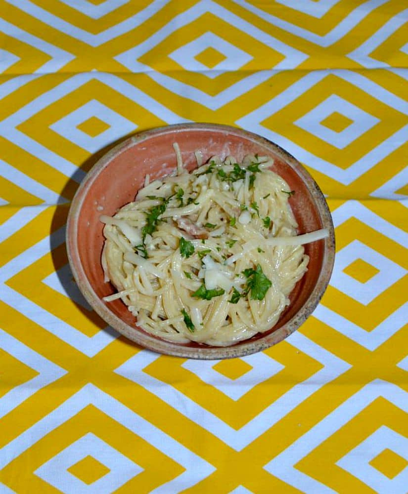 Easy Two Cheese Pasta Carbonara with bacon