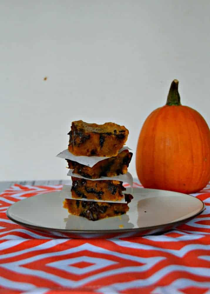 Gooey Chocolate Chip Pumpkin bars