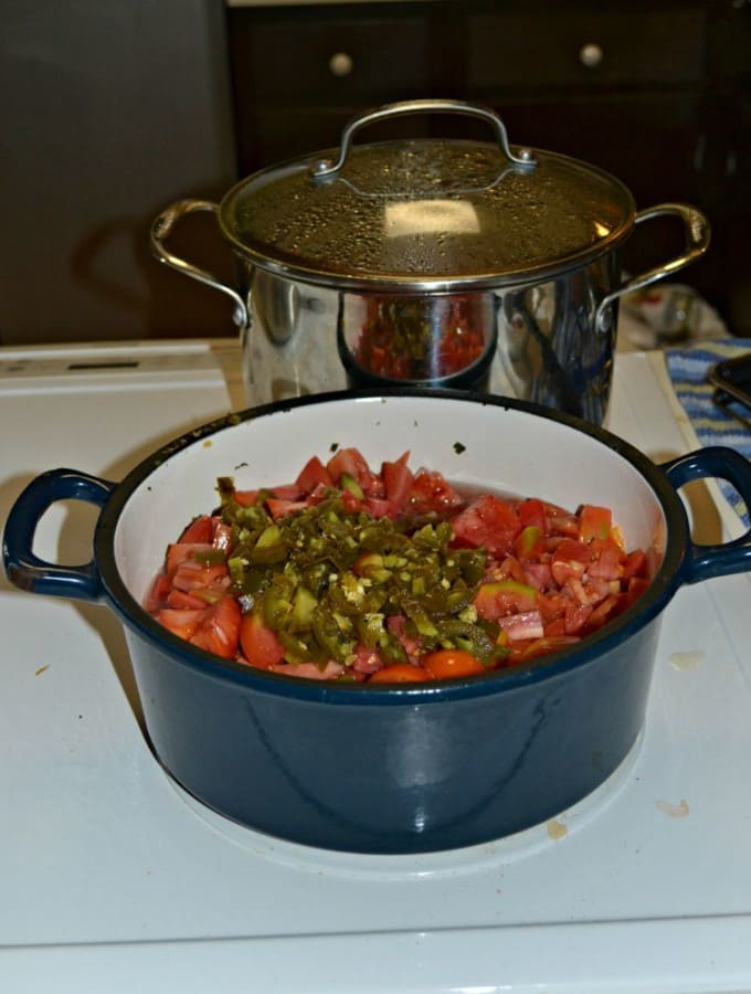 Spicy Jalapeno Salsa ready for canning