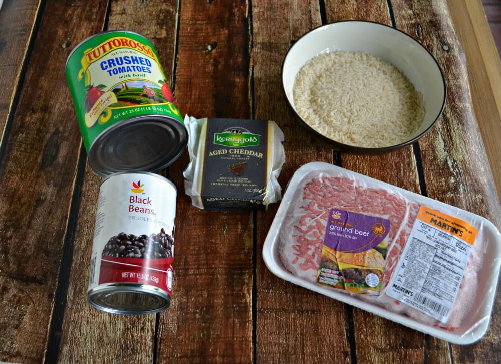 Everything you need to make a Chili and Rice Casserole