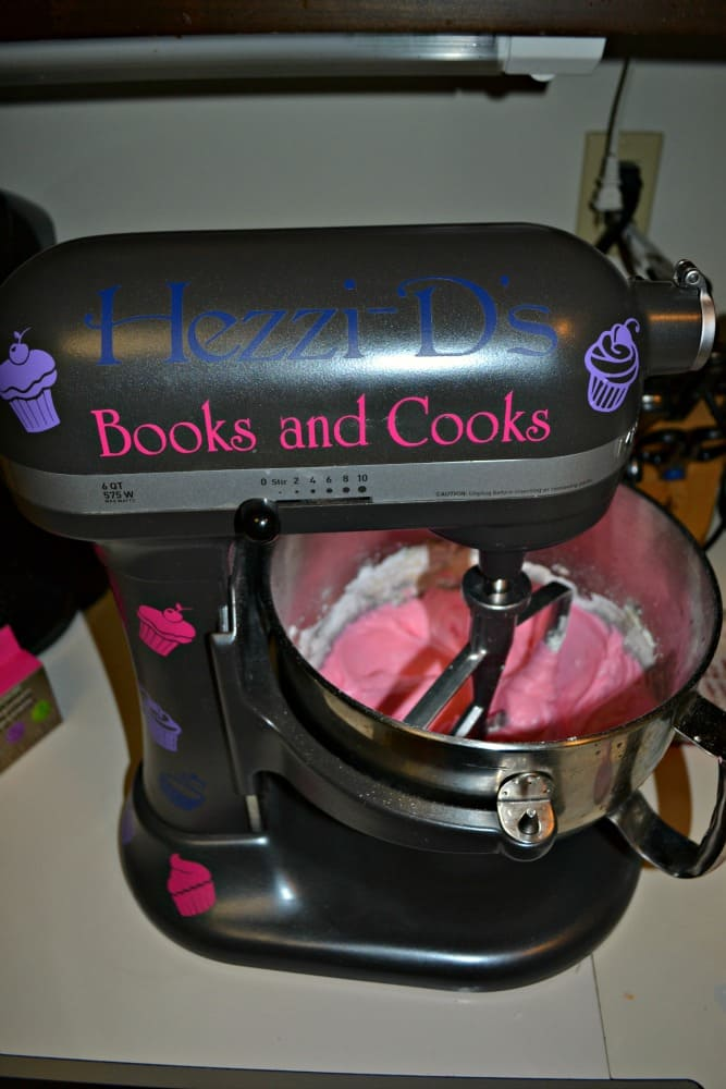 Mixing up a batch of Pink Champagne Frosting in my KitchenAid Mixer!
