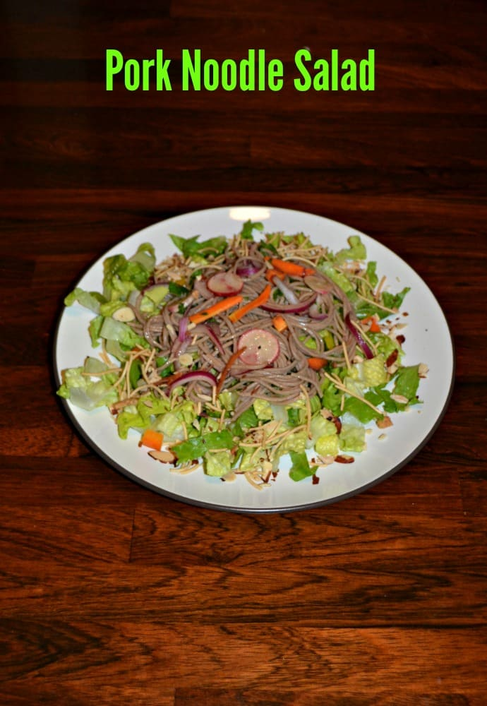 A chopped Asian salad topped with Noodles and Pork in an Asian Sauce