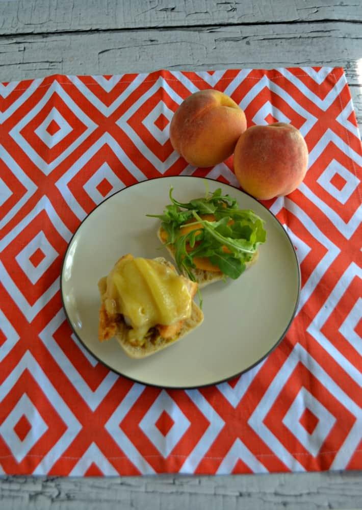 Chicken, Peach, and Arugula on a Foccacia Roll