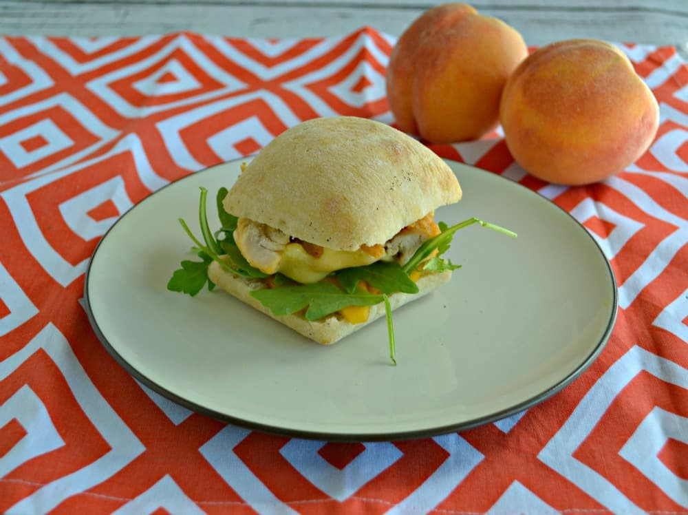 Chicken, Arugula, and Peaches on a Foccacia Roll