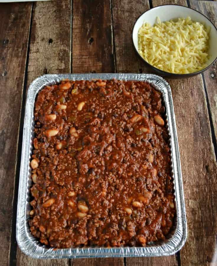 Delicious CHili and Rice Casserole can be made ahead of time and baked later!