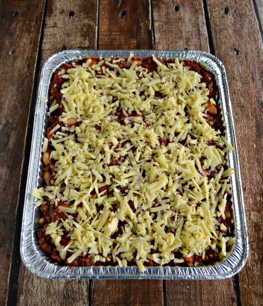 Tasty Chili and Rice Casserole topped with Kerrygold Aged Cheddar Cheese (Freezer Meal)