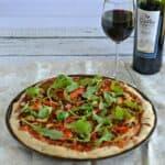 Roasted Pepper and Chorizo Pizza with Arugula  #SundaySupper
