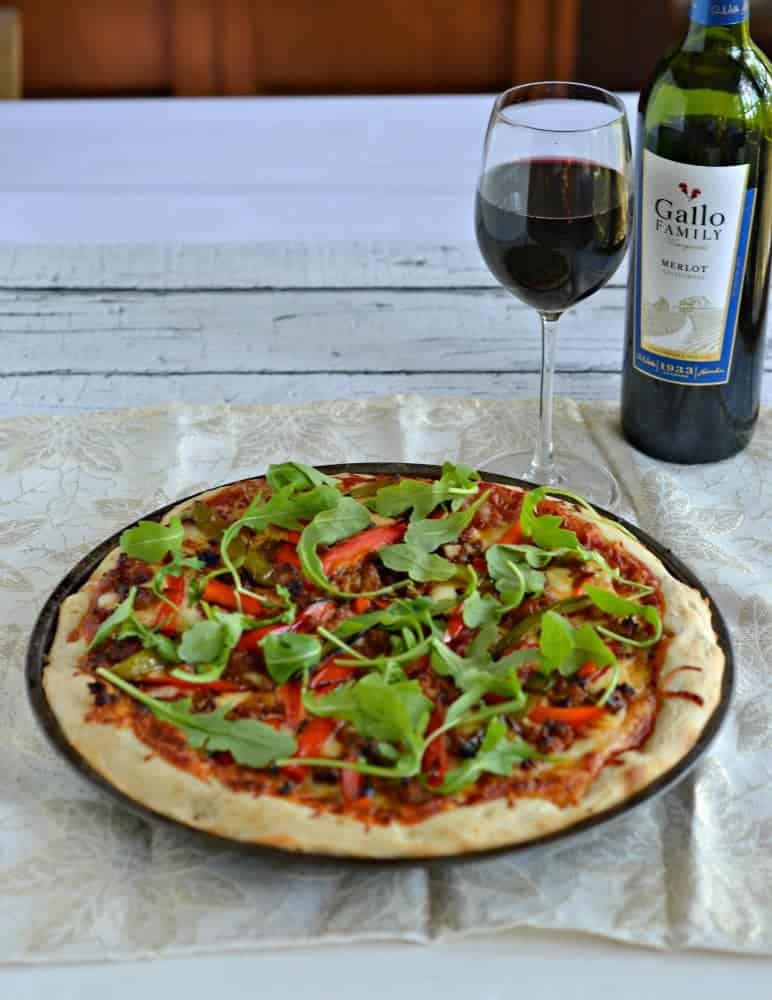 Chorizo and ROasted Pepper Pizza with Arugula is perfect for pizza night!