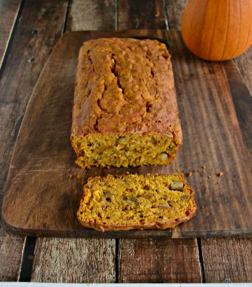 Fall Harvest Bread is a pumpkin apple bread with walnuts