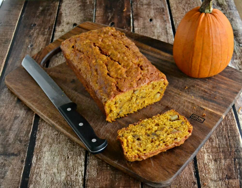 Fall Harvest Bread combines pumpkin bread with apples and walnuts for a fall flavor.