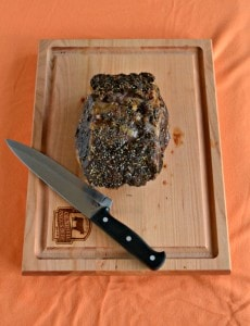 Herb and Garlic crusted Ribeye Roast with Red Wine Sauce